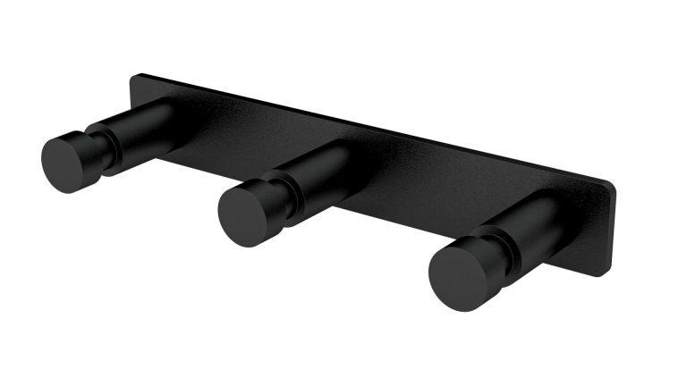 Hakenleiste mit 3 Kleiderhaken in schwarz matt
