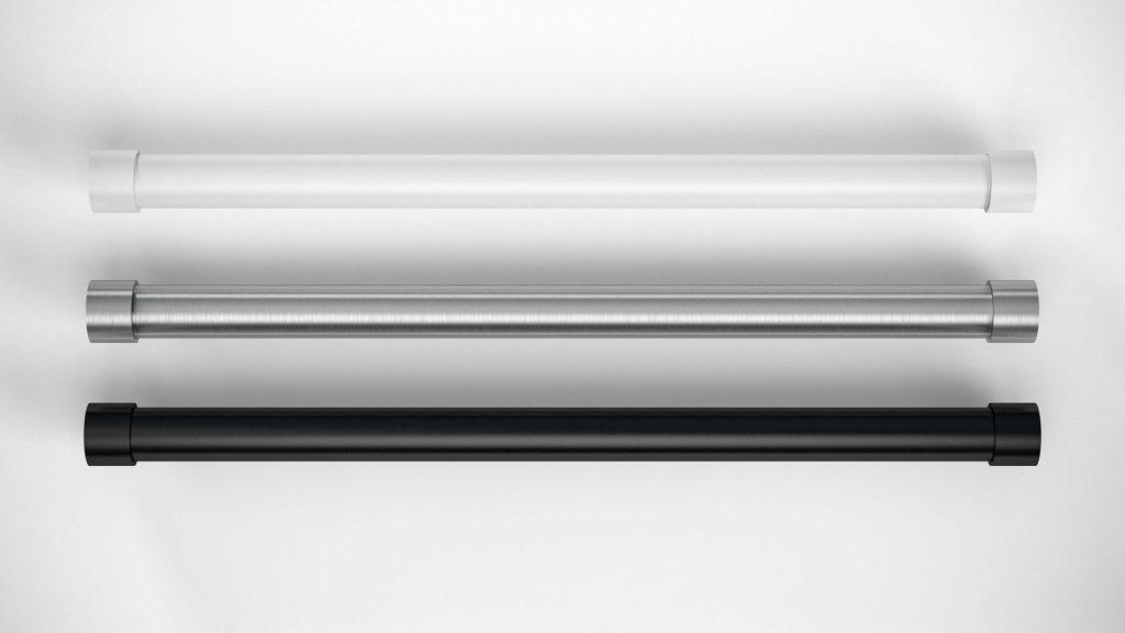 Garderobenstangen Kleiderstangen hochwertig Edelstahl matt gebürstet Hochglanz poliert schwarz und weiß matt mit Wandhalter Schrankrohrlager auch auf Maß