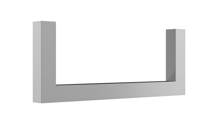 Garderoben U-Bügel rund auf Gehrung Edelstahl matt gebürstet Vierkant 25x25 mm Artikel 1025.301.10 U