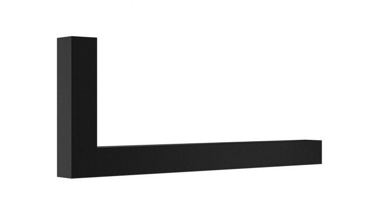 Garderoben L-Bügel Vierkant 25x25 mm auf Gehrung schwarz matt beschichtet Artikel 1025.302.11 L